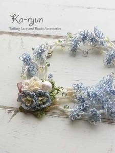 ぷっくりお花のブローチ&ロングネックレス