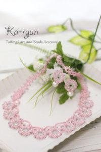 花飾りのネックレス&ピアス・ピンク