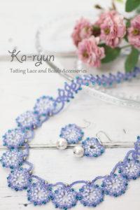 花飾りのネックレス&ピアス・ブルー